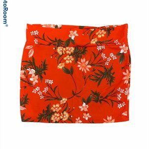 Lily Morgan Stretchy Red FLoral Skirt XL